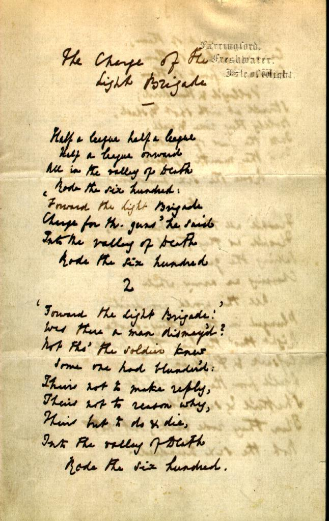 the charge of the light brigade essay The charge of the light brigade this paper will serve two purposes (1) a biographical introduction to the poet and the era in which the poem was written (2) to.